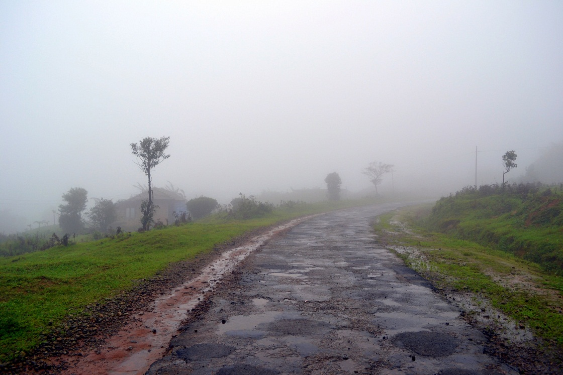 misty road sakleshpur